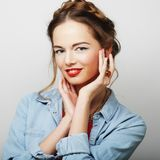Beautiful young surprised blond woman Royalty Free Stock Images