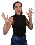 Beautiful Young Surprised and Excited Woman Royalty Free Stock Image