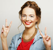 Beautiful young surprised woman. Stock Images