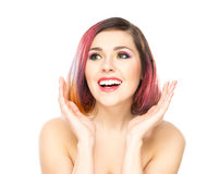 Beautiful young surprised woman on isolated background Royalty Free Stock Photo