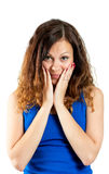 Beautiful young surprised woman looking at camera Royalty Free Stock Image