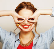 Beautiful young surprised woman. Stock Image