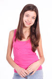 Beautiful young teen girl with brackets. On teeth in white Royalty Free Stock Photography