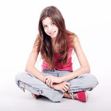 Beautiful young teen girl with brackets Royalty Free Stock Photography