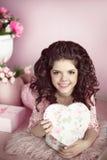 Beautiful young teen girl portrait open present, romantic surpri Royalty Free Stock Photo