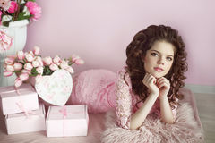 Beautiful young teen girl portrait, romantic surprise. Brunette Royalty Free Stock Images