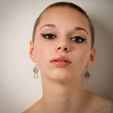 Beautiful Young Teenage Girl With A Shaven Head Stock Images