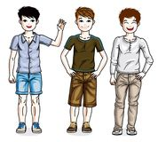 Beautiful young teenager boys group posing in stylish casual clo. Thes. Vector diversity kids illustrations set Royalty Free Stock Photos