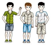 Beautiful young teenager boys group posing in stylish casual clo. Thes. Vector diversity kids illustrations set. Childhood and family lifestyle cartoons Stock Image