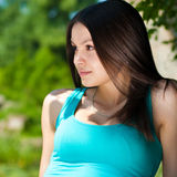 Beautiful young thoughtful lady Stock Photo