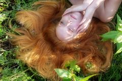 Beautiful young thoughtful woman, portrait, eyes half closed, lying on the green field, with flowers, in nature royalty free stock images