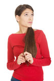Beautiful young thoughtful student woman. Royalty Free Stock Photos