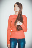 Beautiful young thoughtful student woman. Beautiful casual young thoughtful student woman Royalty Free Stock Photos