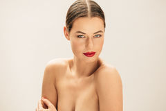 Beautiful young topless female model Stock Images