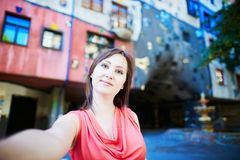 Beautiful young tourist in Vienna Stock Images