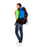 Beautiful young tourist woman with backpack Royalty Free Stock Photography