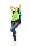 Beautiful young tourist woman with backpack Stock Photography