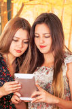 Beautiful young trendy girls using tablet Royalty Free Stock Photos