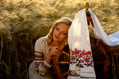 Beautiful young Ukrainian girl in traditional dress Royalty Free Stock Images