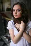Beautiful young victorian lady in white dress Stock Photography