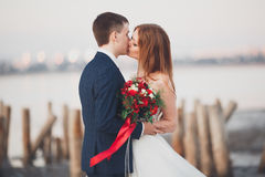 Beautiful young wedding couple, bride and groom posing near wooden poles on the background sea Royalty Free Stock Photography