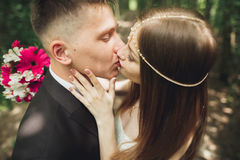 Beautiful young wedding couple is kissing and smiling in the park Royalty Free Stock Image