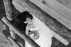 Beautiful young wedding couple outdoors Royalty Free Stock Images