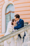 Beautiful young wedding couple at stairs in park. Romantic vintage building on background Stock Image