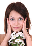 Beautiful young with white flower. Stock Photo