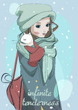 Beautiful young winter lady. Beautiful young cartoon lady with cat vector illustration