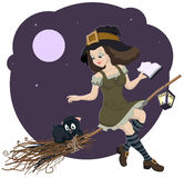 Beautiful young witch broom with cat. Illustration in vector format Stock Photos
