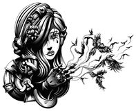 Beautiful young witch. From which hands fly crows Stock Images
