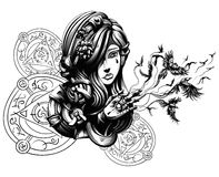 Beautiful young witch. From which hands fly crows, characters does not mean anything, it's just squiggles Royalty Free Stock Image