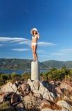 Beautiful young woman. In white bikini Stock Image