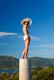 Beautiful young woman. In white bikini Royalty Free Stock Image