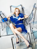Beautiful young woman. In a beautiful blue dress Royalty Free Stock Photo
