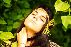 Beautiful young woman. Resting outdoors royalty free stock photography
