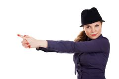 Beautiful young woman. With imaginery pistol Stock Photos