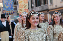 Beautiful young woman. Venice,Italy-February 26th, 2011: A beautiful young woman on Sestiere Castello in Venice paticipate in a medieval characters parade during Stock Image