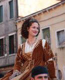 Beautiful Young Woman. Venice,Italy-February 26th, 2011: A beautiful young woman on Sestiere Castello in Venice paticipate in a medieval characters parade during Stock Photography