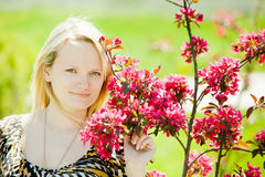 Beautiful young woman. In spring season royalty free stock photo
