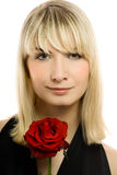 Beautiful young woman. With red rose. Isolated on white Stock Images