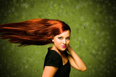 Beautiful young woman. Beautiful young model with wind in her hair Royalty Free Stock Photo