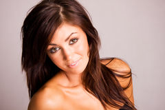 Beautiful young woman. Beautiful young brunette woman smiling Royalty Free Stock Photos