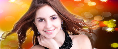 Beautiful young woman  on abstract  background Stock Image