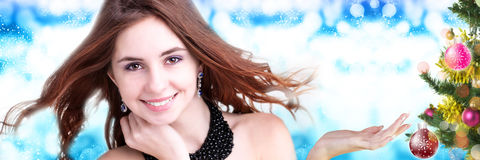 Beautiful young woman  on abstract  background Royalty Free Stock Photo