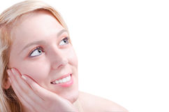 Beautiful young woman admiring happy Royalty Free Stock Photo