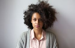 Beautiful young woman with afro hairstyle Stock Photos