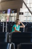 Beautiful young woman at the airport Stock Photos