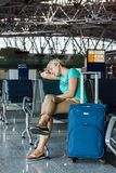 Beautiful young woman at the airport Royalty Free Stock Images